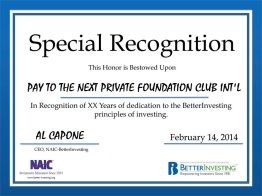 BetterInvesting CLUB certificates of recognition PAY TO THE NEXT
