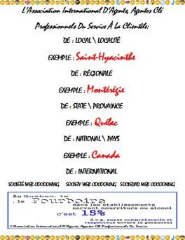 L'Association International D'Agents, Agentes Clé Professionnels Du Service À La Clientèle