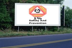 PANNEAU, PRÉSENTATION, PUB, 1 PERCENT FOR SAFETY AND PREVENTION 1