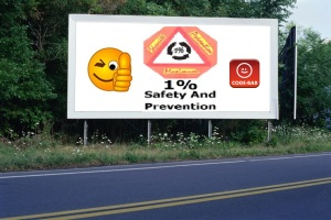 PANNEAU, PRÉSENTATION, PUB, 1 PERCENT FOR SAFETY AND PREVENTION CODE-BAR