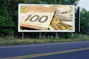 PANNEAU, PRÉSENTATION, PUB, 100 Dollars Canadien 1