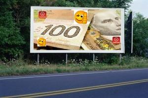 PANNEAU, PRÉSENTATION, PUB, 100 Dollars Canadien 3