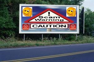 PANNEAU, PRÉSENTATION, PUB, Scam Warning 3