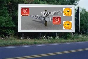 PANNEAU, PRÉSENTATION, PUB, SUCCESS, FAILURE CODE-BAR 1