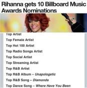 RIHANNA GETS 10 Billboard Music Awards NOMINATIONS